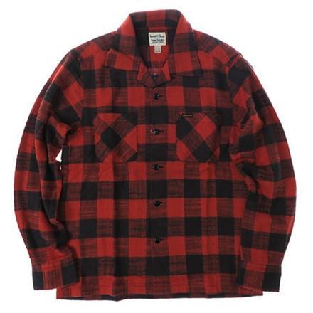 フェローズ Pherrow's 長袖 コットン オープンシャツ ライトネル ブロックチェック チェックシャツ 17W-POLS