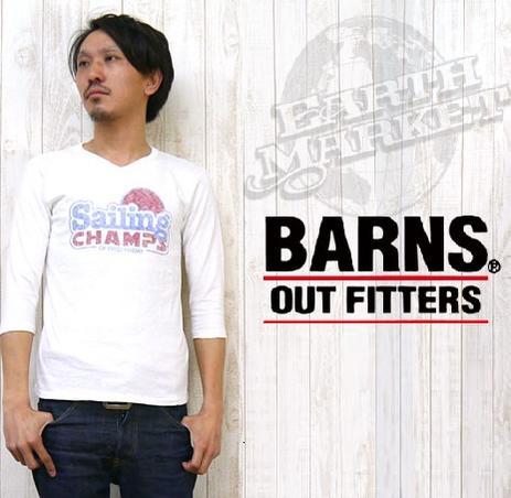 バーンズ BARNSTシャツ 7分袖 吊り 天竺 プリント Vネック 「Sailing CHAMPS」 BR-5628