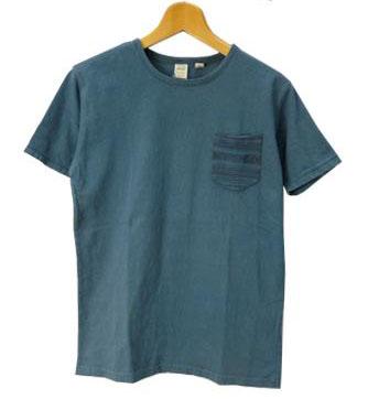 バーンズ BARNS クルーネック ラフィー天竺 ネイティブ ジャガード ポケット付き半袖Tシャツ メンズ