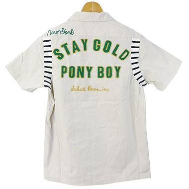 ショット Schott チェーン刺繍リブ使い半袖ワークシャツ