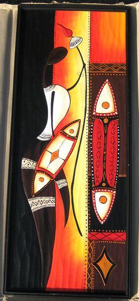 木彫り彫刻画☆アフリカン・アート≪120×50≫01