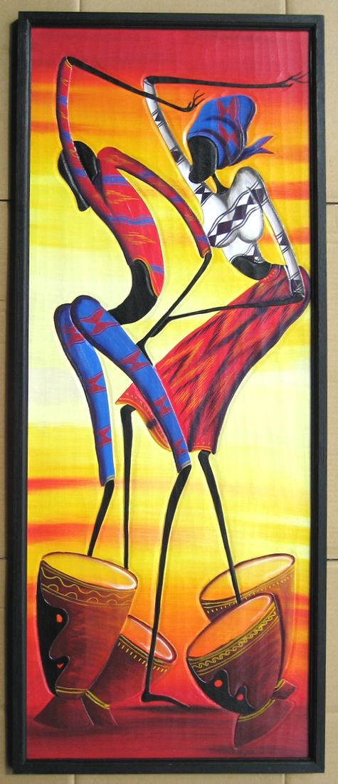 木彫り彫刻画☆アフリカン・アート≪120×50≫04