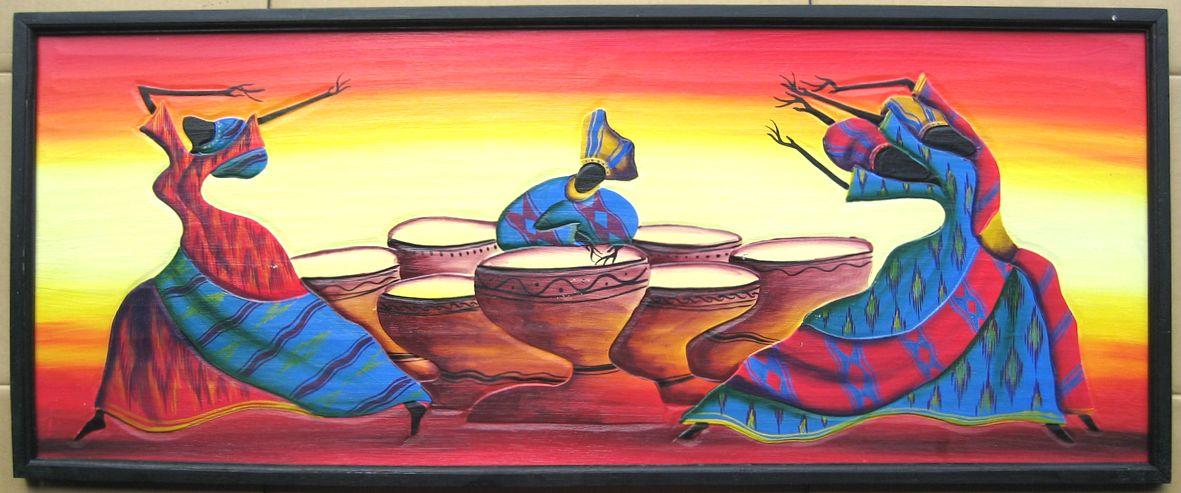 木彫り彫刻画☆アフリカン・アート≪120×50≫06