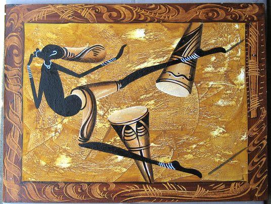 キャンバス画☆アフリカン・アート≪80×60≫02