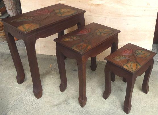 安全 バリ島の手作り家具 《アジアン家具》木製ミニテーブル 海外 ≪ロータスデザイン≫ 3サイズセット