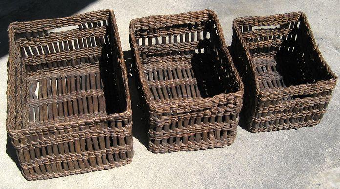 バリ島・ヒヤシンス編みのバスケット~直径深型~3サイズセット