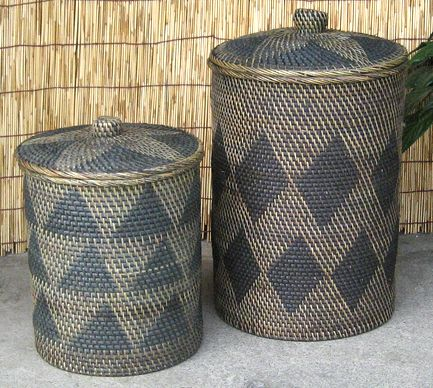 Lombok Rattan Wicker Basket With Lid Wastepaper Round 2size