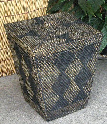 ロンボク・ラタン編み蓋付きバスケット(屑篭)~スクエア~