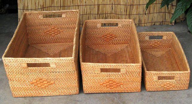 ロンボク・ラタン編みバスケット~直径平型~3サイズセット