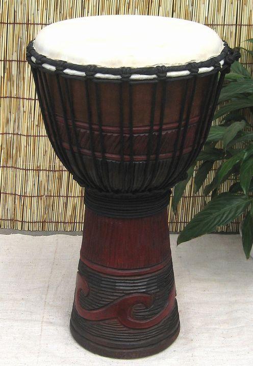 インドネシア・木製ジャンベ☆木彫りMサイズ(MJ)☆