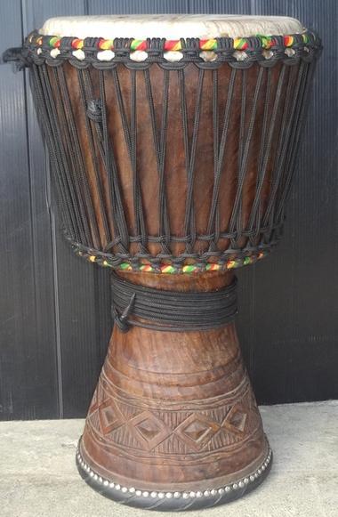 エボニー(黒檀)ジャンベ~フォラ~《H.60cm~No.14》☆≪牛皮≫