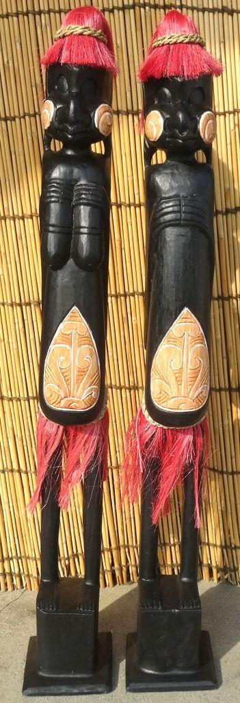 木彫りエスニックドール《赤毛の人形》1m~男女ペア~