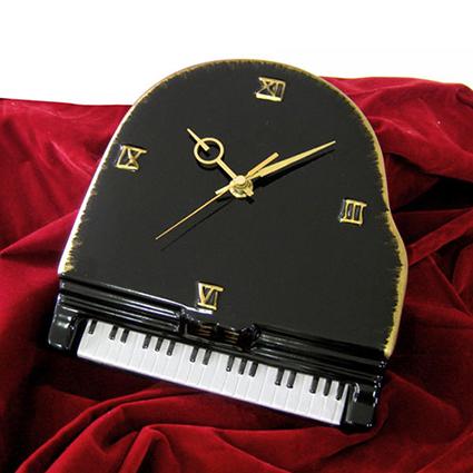 陶器製 楽器掛け時計 ピアノ・ヴァイオリン