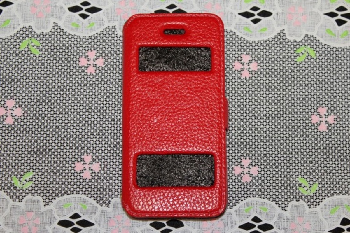 ゆうパケット メール便 送料200円 iPhone5 5S SE 手帳型 5%OFF 赤色 高級本革 窓付き スマホケース 価格 4インチ