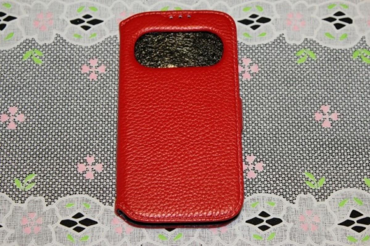 ゆうパケット メール便 送料200円 Galaxy S4 安心と信頼 SC-04E 窓付き 高級本革 お中元 スマホケース 手帳型 赤色