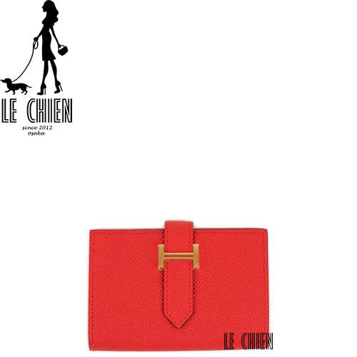【並行輸入品】【新品】HERMES エルメス ベアンミニ 二つ折りミニ財布 ルージュクール ゴールド金具 エプソン