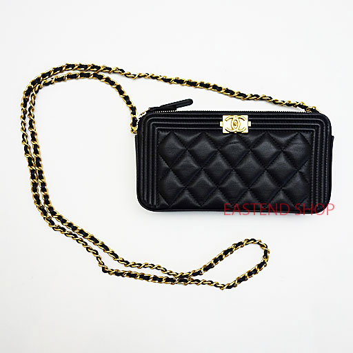 CHANEL BOY CHANEL Chain bag clutch bag wallet A84069 Black Gold  hardware Lambskin ce69834eebeb