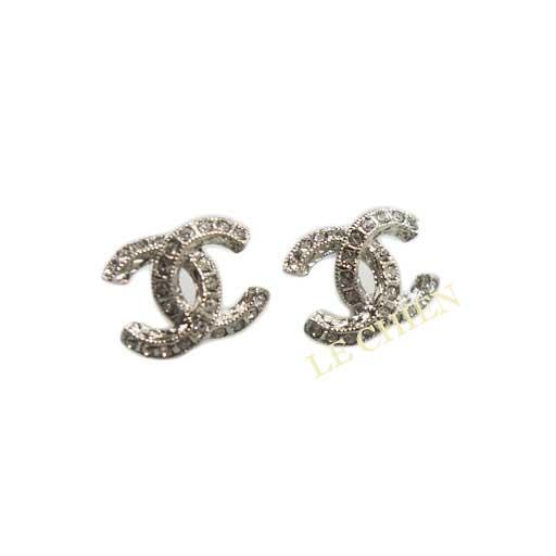 Chanel Pierced Earrings A45628 Silver Rhinestone