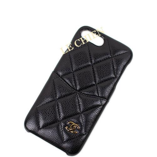 【新品】シャネル iPhoneケース A83564 iPhone7Plus/iPhone8Plus ブラック/ゴールド金具 キャビアスキン
