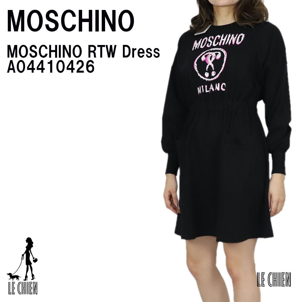 ラッピング可 並行輸入品 誕生日 格安SALEスタート プレゼント 記念日 サプライズ ギフト ワンピ ドレス ワンピース レディース A04410426 RTW 新品 Dress 最安値 MOSCHINO モスキーノ \最安値挑戦中