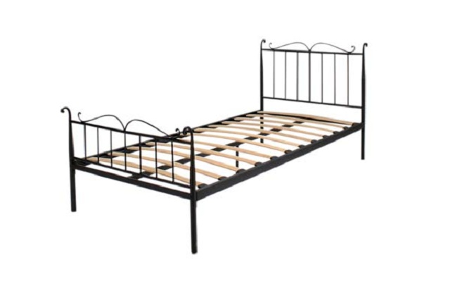【スチールフレームベッド】【モダンでお洒落なデザインが特徴のシングルベッド】【曲線デザインが寝室を優雅に演出】【サイズ】【型】【ウッドスプリング】【幅】【巾】【ブラック】【ホワイト】【黒】【白】★B-241S-BK/WH【02P03Dec16】