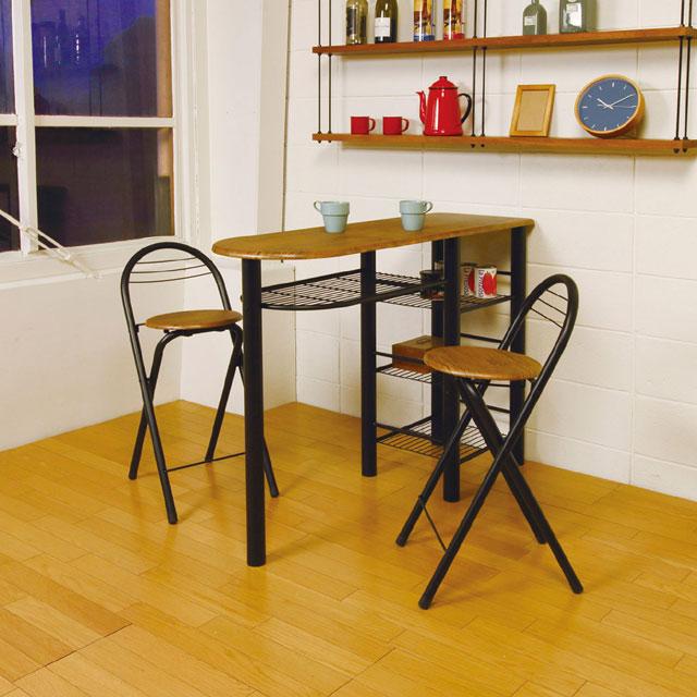 カウンター3点セット 木製 ハイチェア バーチェアー ハイカウンターテーブル おしゃれ モダン カッコイイ BARテーブルセット スチール 背付スツール CT-1200ハイテーブルセット