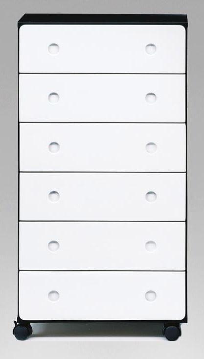 【キャスターつきで移動も楽々】 たんす 完成品 6段チェスト クローゼット 北欧 洋服タンス 白 黒 エナメル塗装 ★サニー60チェスト6段【02P03Dec16】