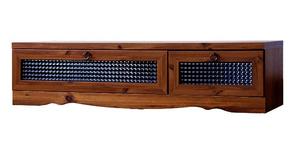 アンティーク調の雰囲気がお洒落な家具 幅120cmのテレビボード クロスガラスがレトロで可愛い 引出し収納 シンプルローボード ブラウン AVボード TVボード 組立品★ビストロローボードBT30-120L 【02P03Dec16】