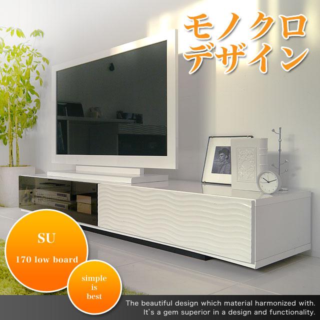 白いモダンでトロリとした質感テレビボード 170cm幅 シュール シンプル 際立つ白い超モダンローボード ホワイト シンプル 収納 テレビ台 TVボード 木製★170ローボード AV収納【02P03Dec16】
