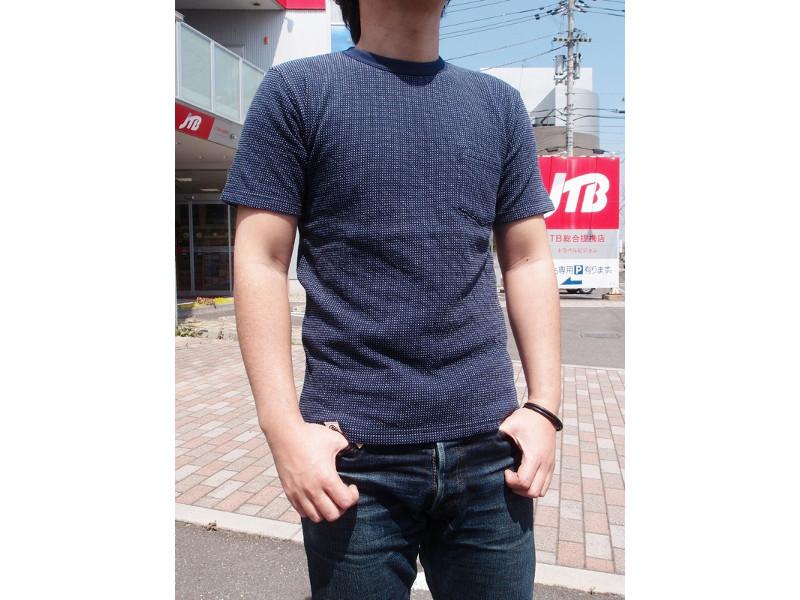 双面针织物点T恤MOMOTARO JEANS桃太郎牛仔裤EASY NAVY 07-037