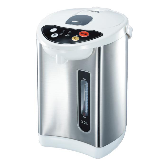 アウトレット 特別セール品 <セール&特集> 訳アリ品 操作しやすいプッシュボタンとシンプルなパネルで簡単操作 電気ポット 3.2L 温度調整 ヒロコーポレーション 保温機能付き HKP-320