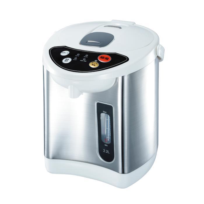 アウトレット 訳アリ品 操作しやすいプッシュボタンとシンプルなパネルで簡単操作 電気ポット 2020秋冬新作 2.2L タイムセール ヒロコーポレーション HKP-220 温度調整 保温機能付き