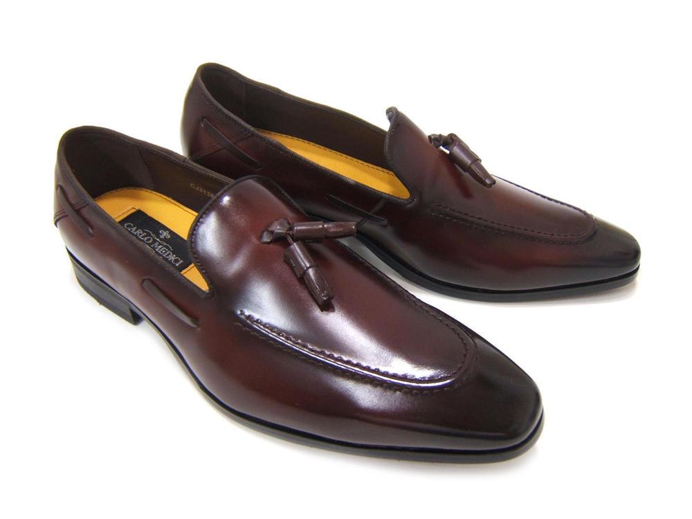 イタリアンモードにこだわったスリッポン!カルロメディチ 紳士靴 タッセル付き ローファーカジュアル ビジネス 送料無料 3Eワイズ CJ-3138 ワイン