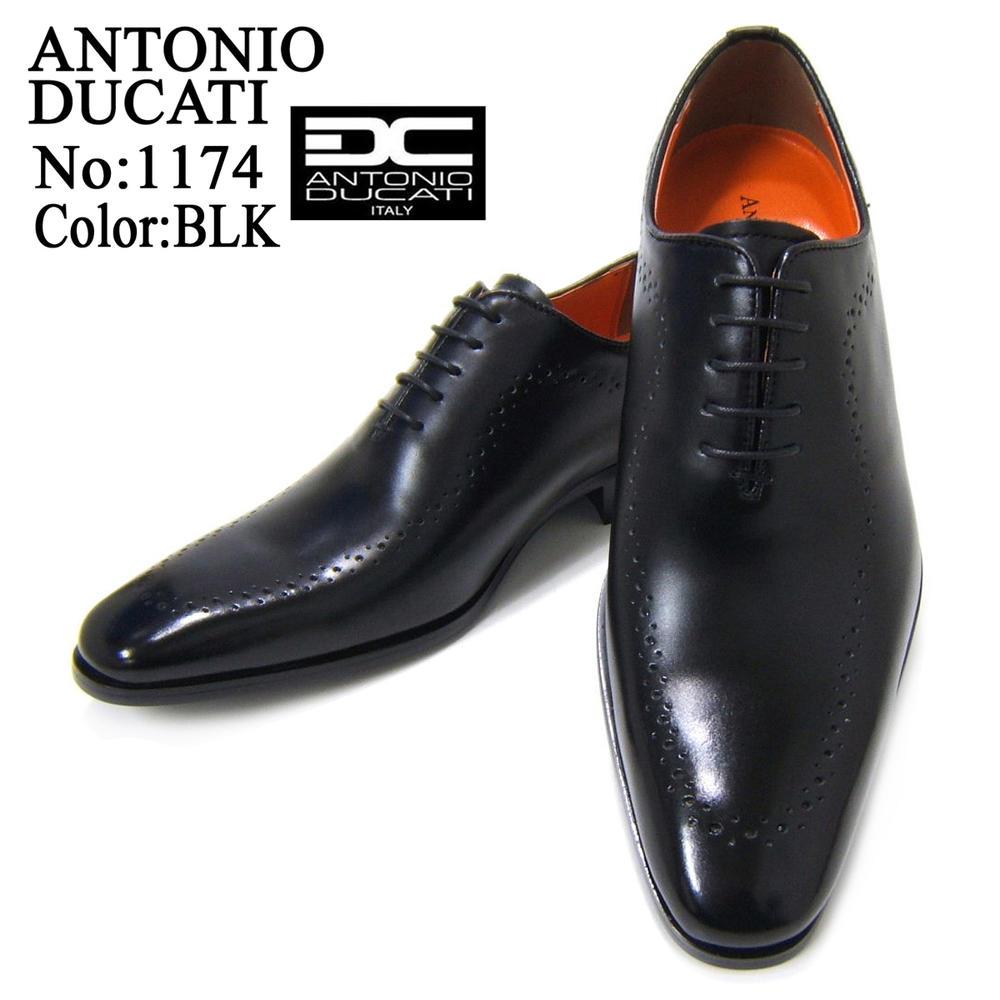 スマートなロングノーズが美しいビジネスシューズ♪アントニオ ドュカッティ/ANTONIO DUCATI紳士靴 DC1174 ブラック メダリオン スクエアトゥ 送料無料