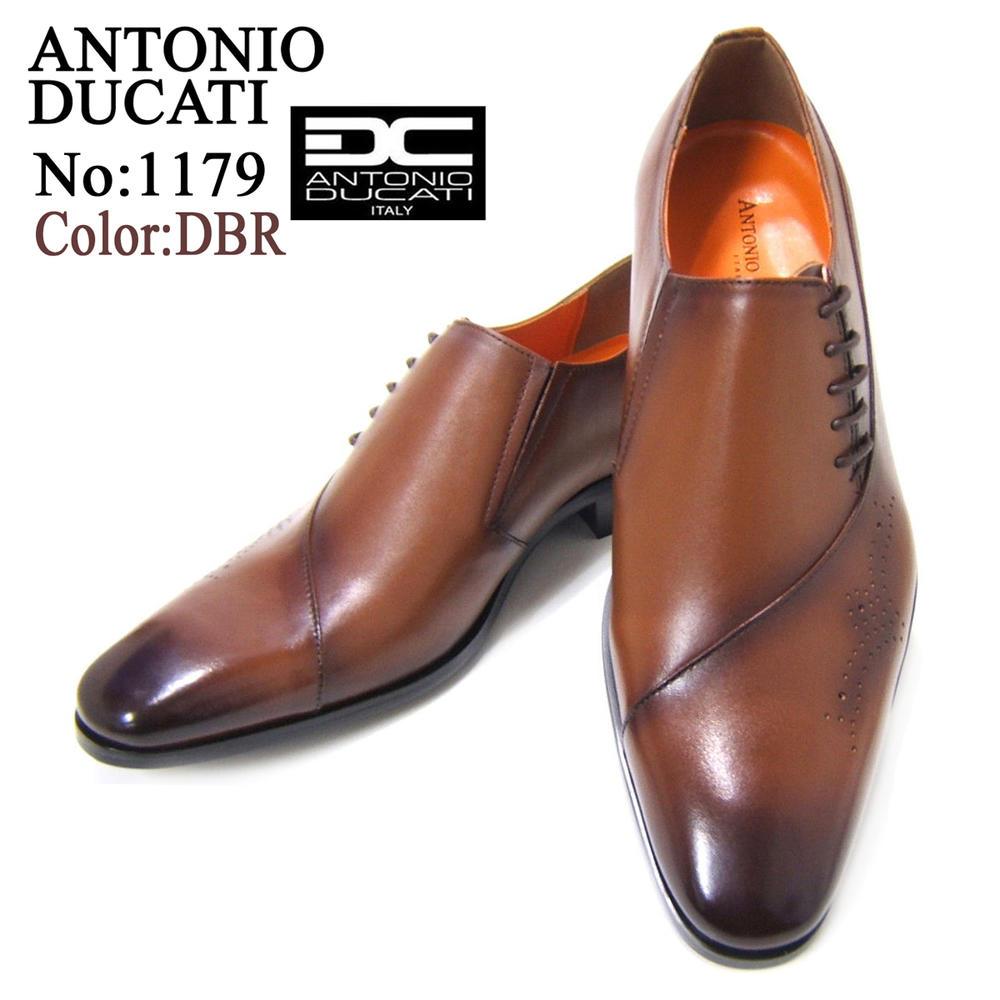 スクエアトゥのロングノーズが美しいビジネスシューズ♪アントニオ ドュカッティ/ANTONIO DUCATI紳士靴 DC1179 ダークブラウン 変形ストレートチップ スクエアトゥ 送料無料