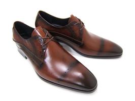パーティーや結婚式♪艶やかで華がある足元を演出!フランコ ルッチ トラディショナル/FRANCO LUZ TRADITIONAL TH-01 ブラウン 紳士靴 変形ストレート 型押しデザインレザー 送料無料