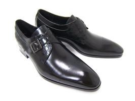 パーティーや結婚式♪艶やかで華がある足元を演出!フランコ ルッチ トラディショナル/FRANCO LUZ TRADITIONAL TH-02 ブラック 紳士靴 変形ストレート シングルベルト 型押しデザインレザー 送料無料