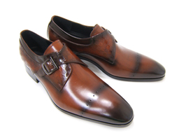 パーティーや結婚式♪艶やかで華がある足元を演出!フランコ ルッチ トラディショナル/FRANCO LUZ TRADITIONAL TH-02 ブラウン 紳士靴 変形ストレート シングルベルト 型押しデザインレザー 送料無料