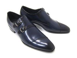 パーティーや結婚式♪艶やかで華がある足元を演出!フランコ ルッチ トラディショナル/FRANCO LUZ TRADITIONAL TH-57 ネイビー 紳士靴 変形ストレートチップ モンクストラップ 送料無料
