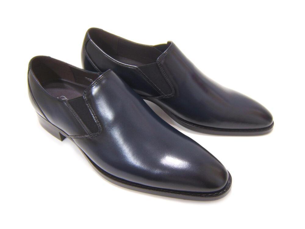 パーティーや結婚式♪艶やかで華がある足元を!フランコ ルッチ トラディショナル/FRANCO LUZI TRADITIONAL TH-870 ネイビー 紳士靴 スリップオン プレーントゥ 送料無料