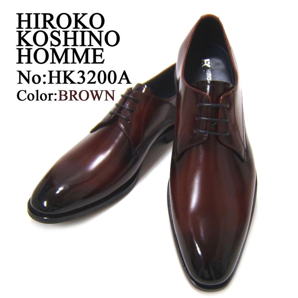 落ち着きのある上品なブラック!The紳士靴!HIROKO KOSHINO/ヒロコ コシノ ビジネス紳士靴 ブラウン プレーントゥ ロングノーズ3Eワイズ ビジネス 送料無料
