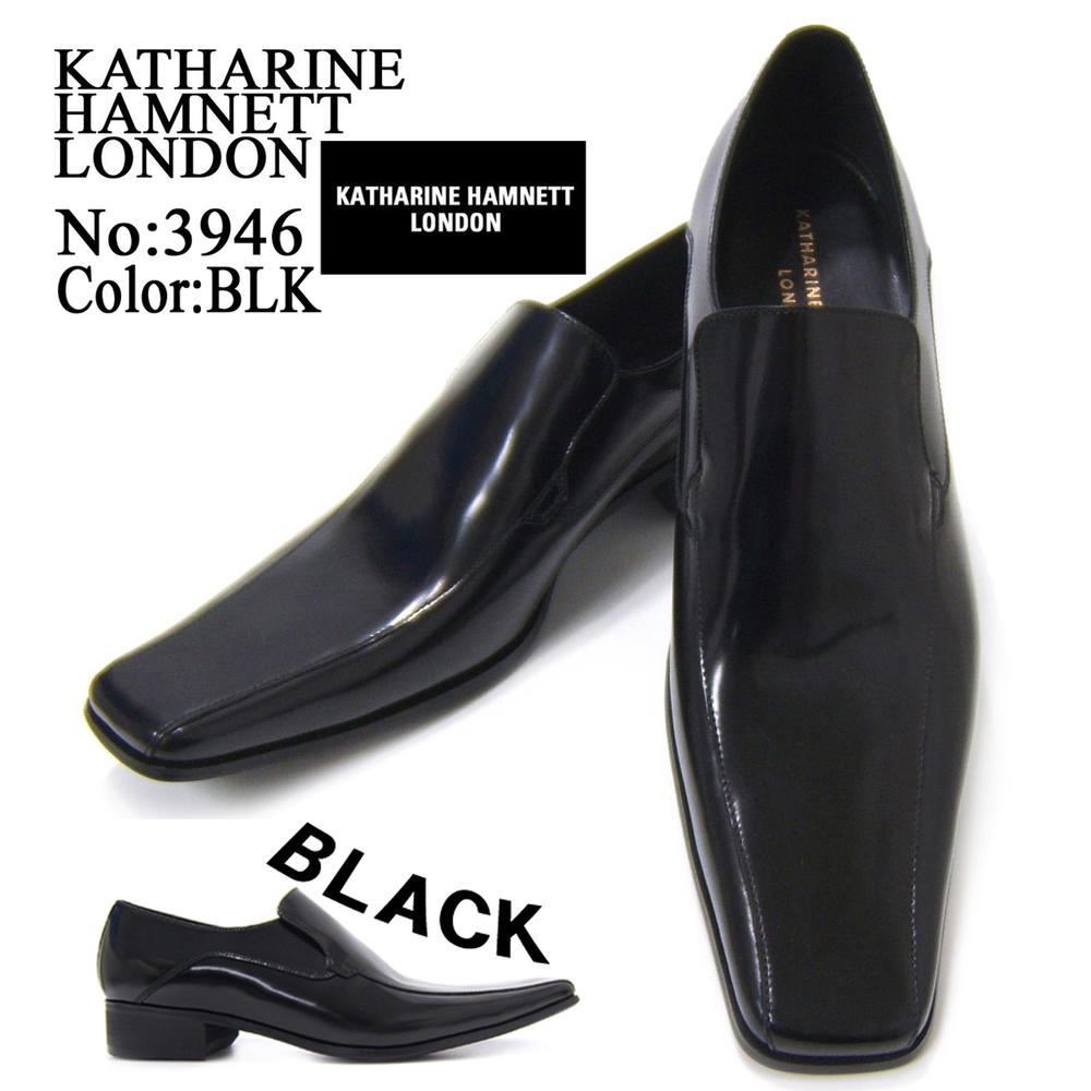 KATHARINE HAMNETT LONDON キャサリン ハムネット ロンドン 紳士靴 3946 ブラック スリップオン フォーマル 送料無料
