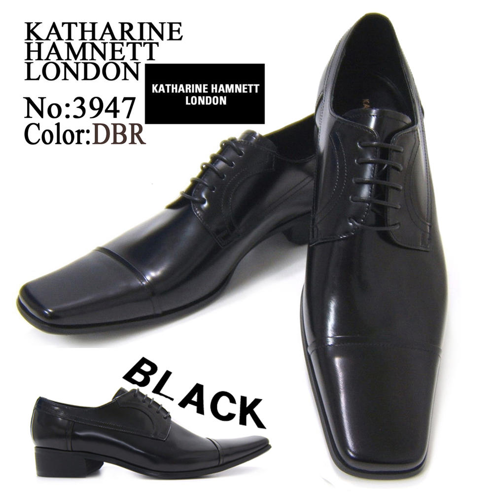 KATHARINE HAMNETT LONDON キャサリン ハムネット ロンドン 紳士靴 3947 ブラック スクエアトゥ ストレートチップ レースアップ ビジネス 送料無料