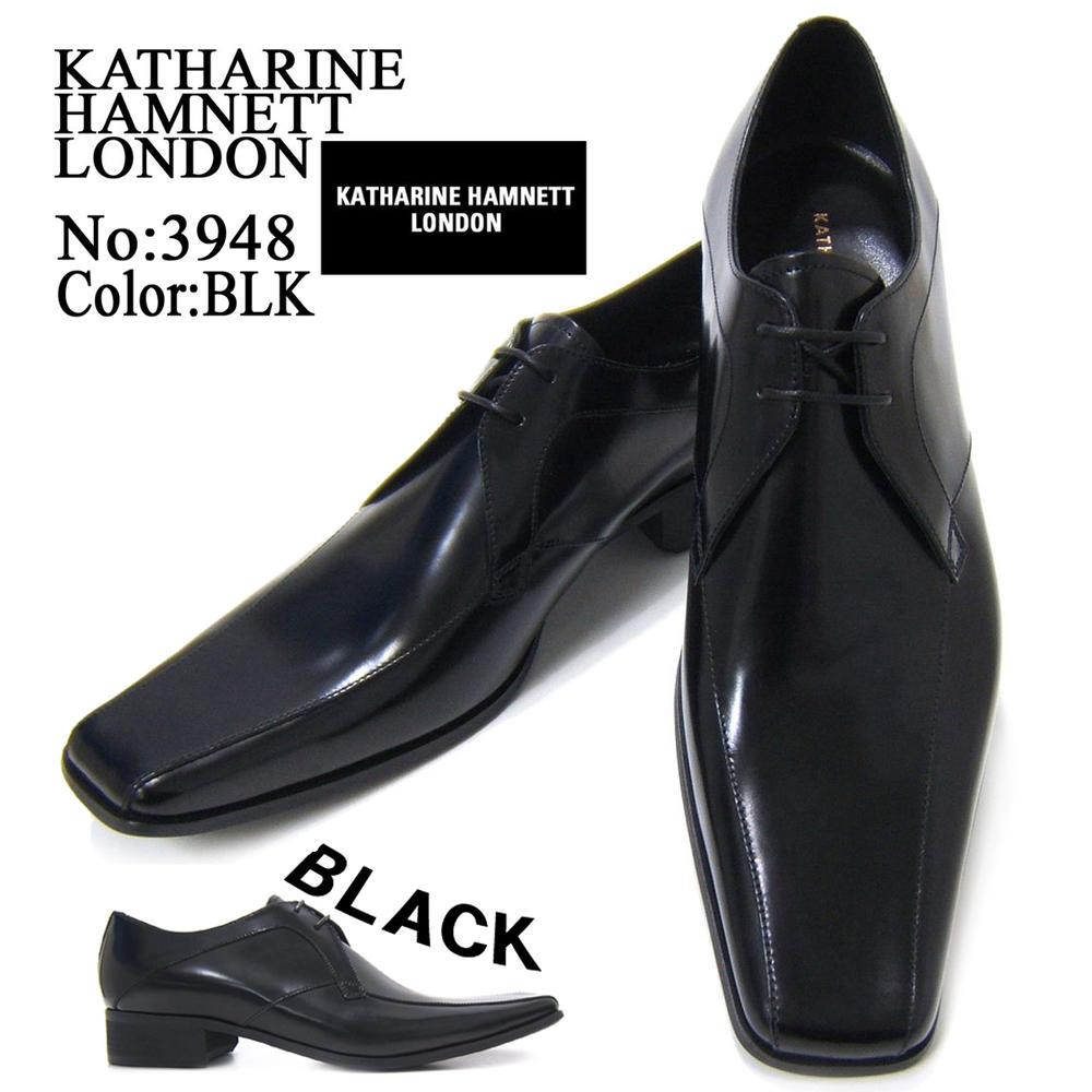 KATHARINE HAMNETT LONDON キャサリン ハムネット ロンドン 紳士靴 3948 ブラック スクエアトゥ スワールモカ レースアップ ビジネス 送料無料