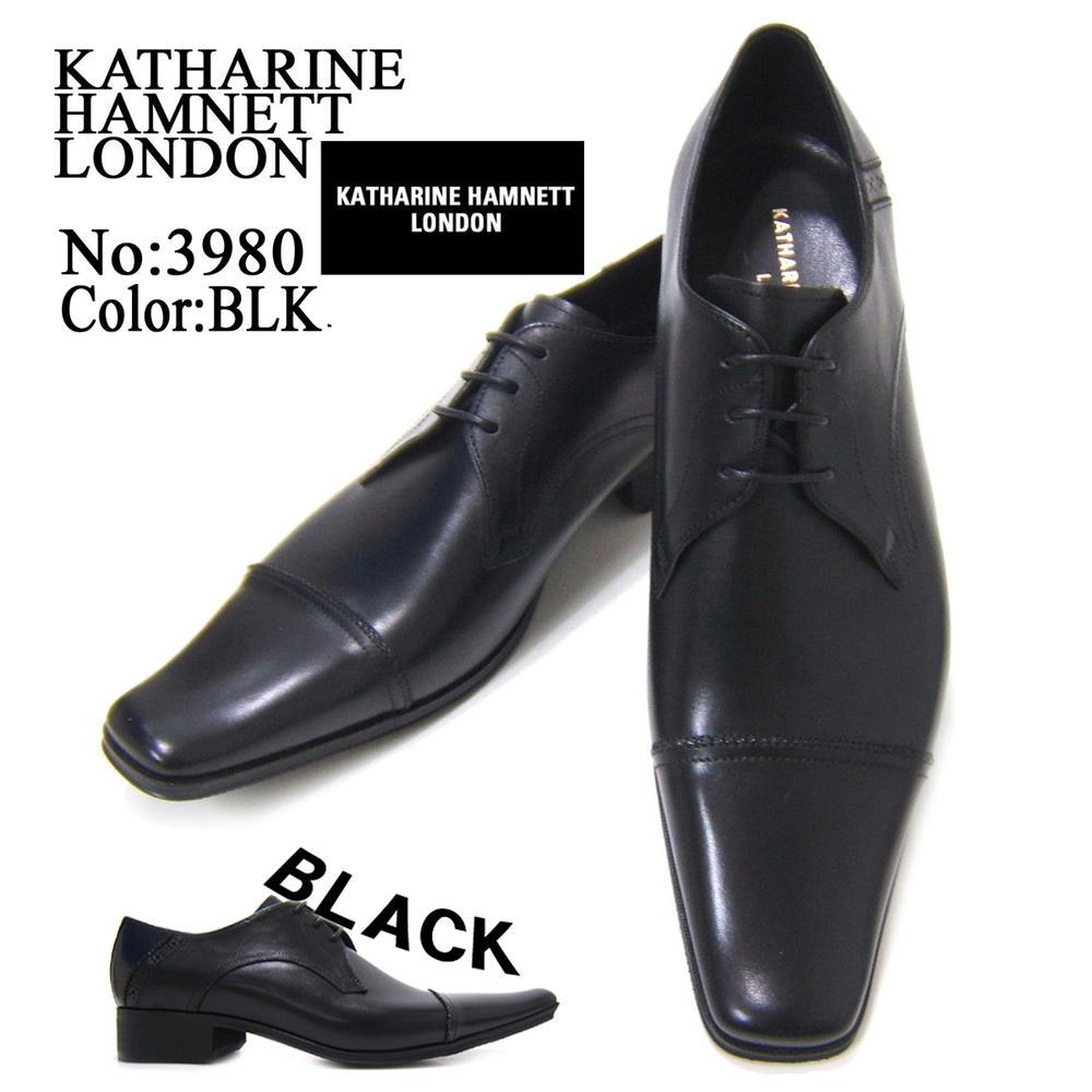 KATHARINE HAMNETT LONDON キャサリン ハムネット ロンドン 紳士靴 KH-3980 ブラック スクエアトゥ ストレートチップ 外羽根 レースアップ ビジネス 送料無料