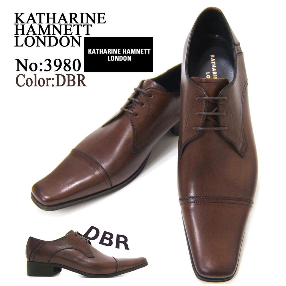 KATHARINE HAMNETT LONDON キャサリン ハムネット ロンドン 紳士靴 KH-3980 ダークブラウン スクエアトゥ ストレートチップ 外羽根 レースアップ ビジネス 送料無料