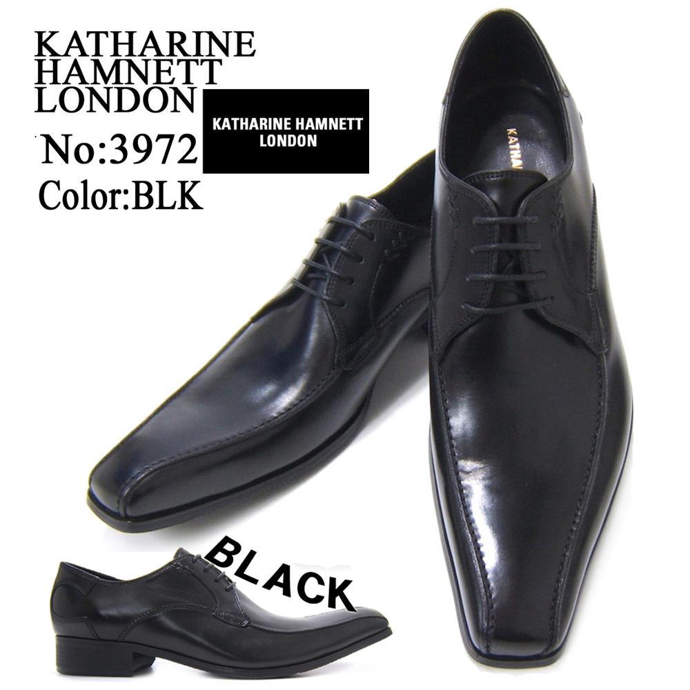 スラリと伸びるロングノーズで魅せる紳士靴!KATHARINE HAMNETT LONDON キャサリン ハムネット ロンドン 紳士靴 3972 ブラック スワールモカ フォーマル 送料無料