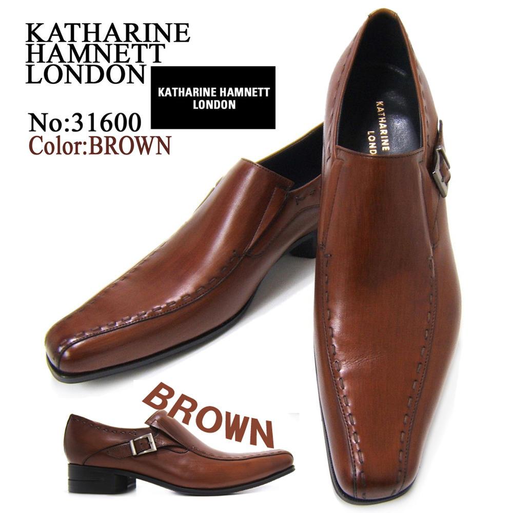 英国で培われた伝統のスタイルを正統継承!KATHARINE HAMNETT LONDON キャサリン ハムネット ロンドン紳士靴 31600 ブラウン スワールモカ スクエアトゥ 送料無料