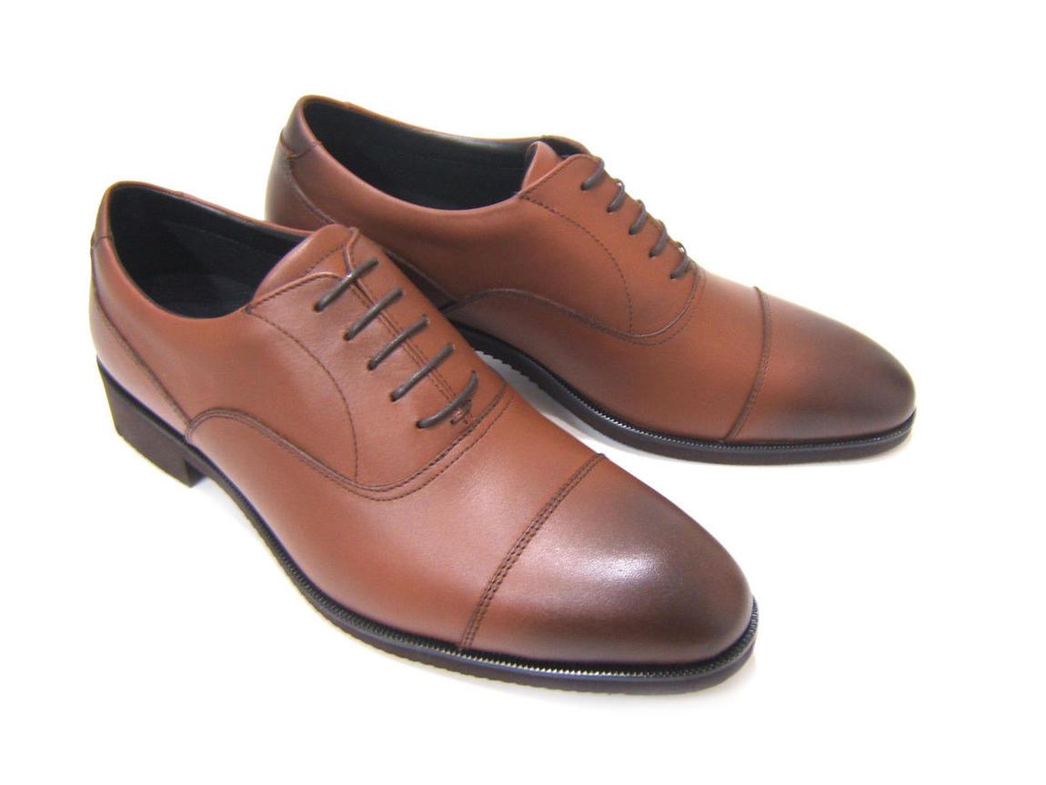 ビブラムソール搭載の軽量ビジネスシューズ!RUN&FAN/ラン アンド ファン ストレートチップ ブラウン 内羽根 紳士靴 ビジネスシューズ 送料無料 フレッシャーズ フォーマル ポイント10倍
