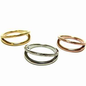 大切な彼氏 彼女 友達へのプレゼントやペアとしてもおすすめ 送料無料 ハワイアン ジュエリー リング ステンレス K14 イエローゴールド ピンクゴールド シルバー 2連 安心の実績 高価 買取 強化中 ring バレンタイン プレゼント 品質検査済 クリスマス 指輪 スクロール アクセサリー レディース メンズ ホワイトデー ペア ギフト
